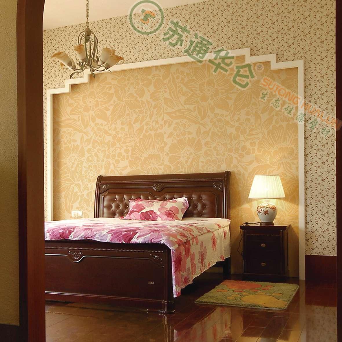 【华仑硅藻泥】中式古曲 造型喷涂 高端定制 卧室床头